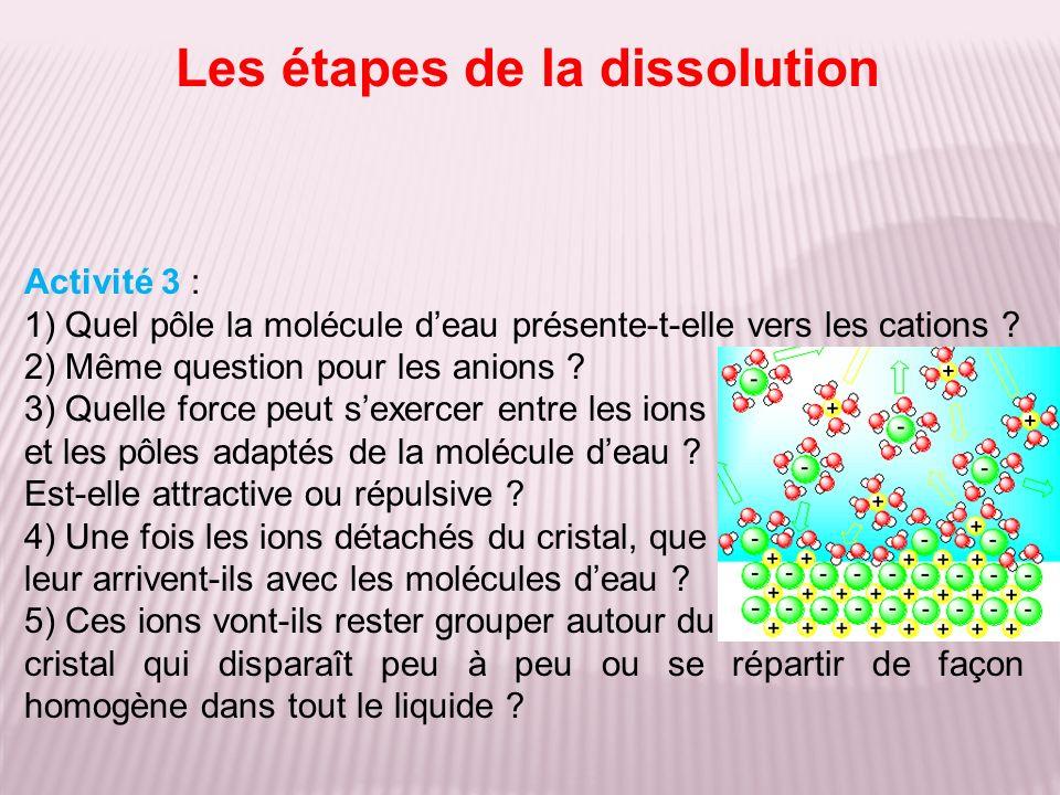 Activité 3 : 1) Quel pôle la molécule deau présente-t-elle vers les cations .