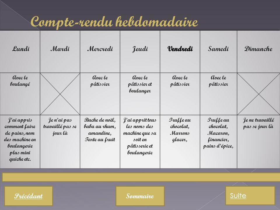 Compte-rendu hebdomadaire PrécédantSommaire Suite