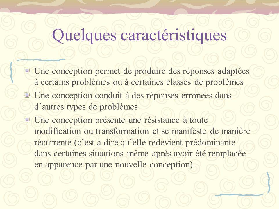 Quelques caractéristiques Une conception permet de produire des réponses adaptées à certains problèmes ou à certaines classes de problèmes Une concept