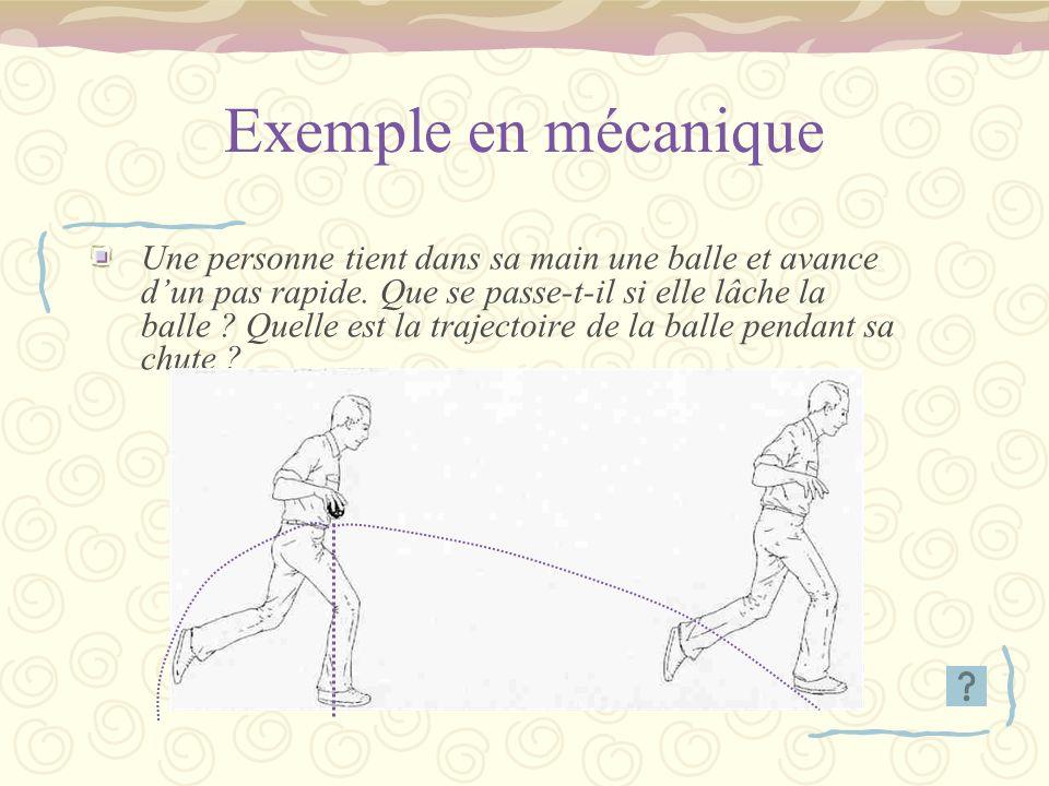 Exemple en mécanique Une personne tient dans sa main une balle et avance dun pas rapide. Que se passe-t-il si elle lâche la balle ? Quelle est la traj
