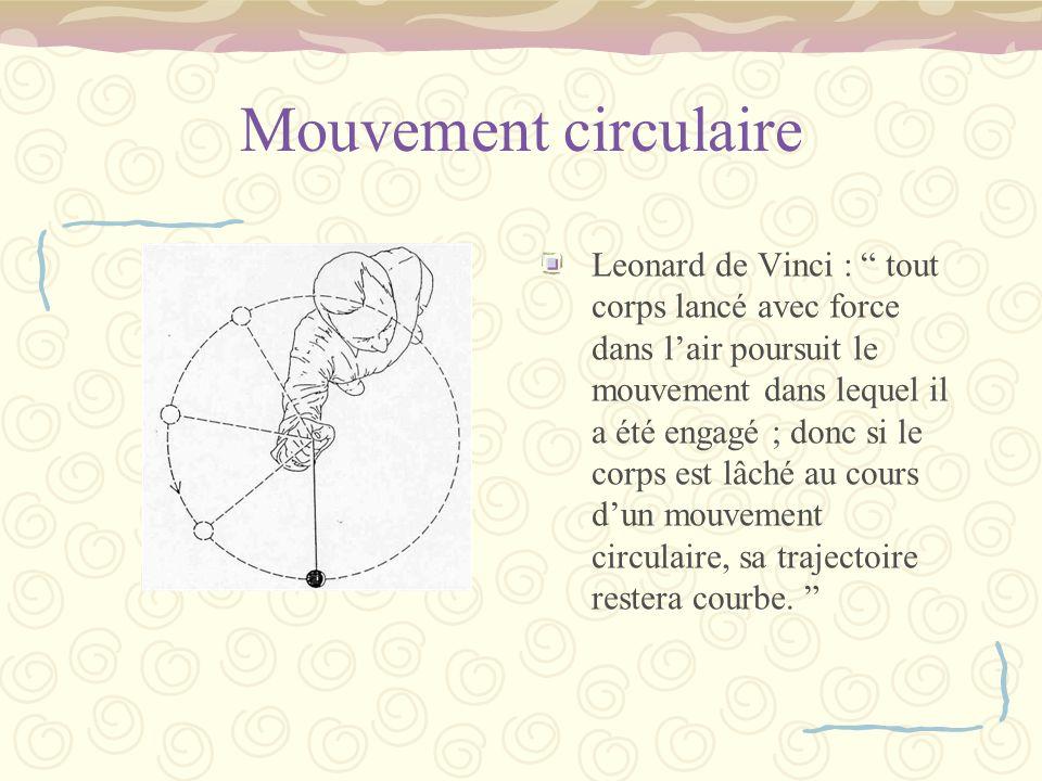 Mouvement circulaire Leonard de Vinci : tout corps lancé avec force dans lair poursuit le mouvement dans lequel il a été engagé ; donc si le corps est