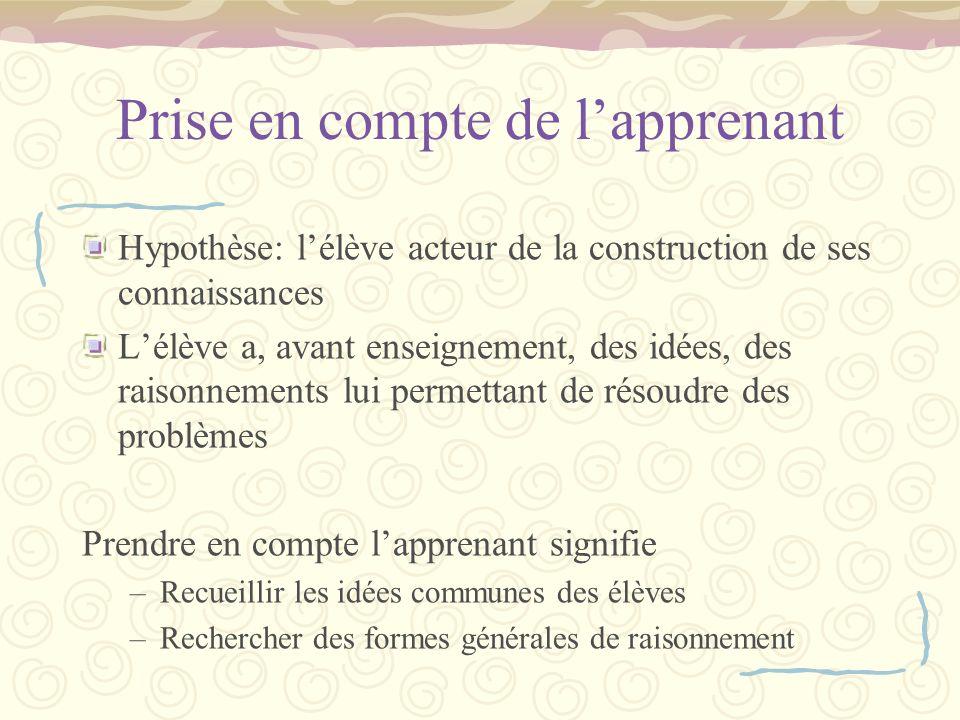 Prise en compte de lapprenant Hypothèse: lélève acteur de la construction de ses connaissances Lélève a, avant enseignement, des idées, des raisonneme