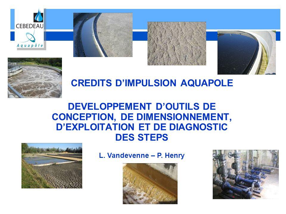 CREDITS DIMPULSION AQUAPOLE DEVELOPPEMENT DOUTILS DE CONCEPTION, DE DIMENSIONNEMENT, DEXPLOITATION ET DE DIAGNOSTIC DES STEPS L. Vandevenne – P. Henry
