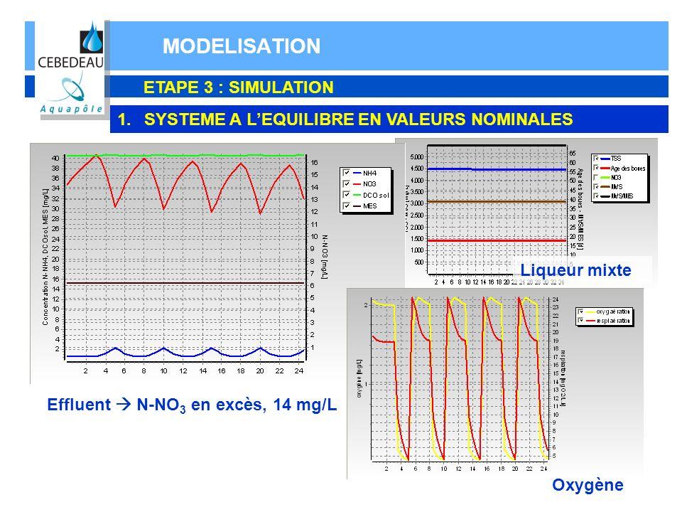 MODELISATION ETAPE 3 : SIMULATION 1.SYSTEME A LEQUILIBRE EN VALEURS NOMINALES Effluent N-NO 3 en excès, 14 mg/L Oxygène Liqueur mixte