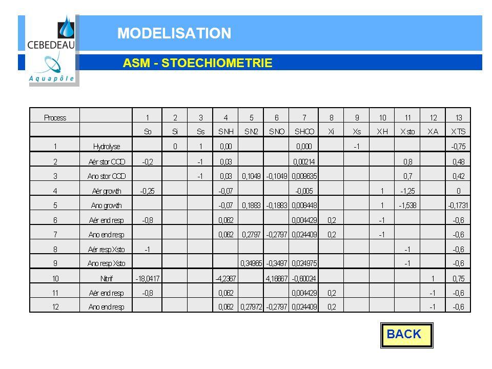 MODELISATION BACK ASM - STOECHIOMETRIE