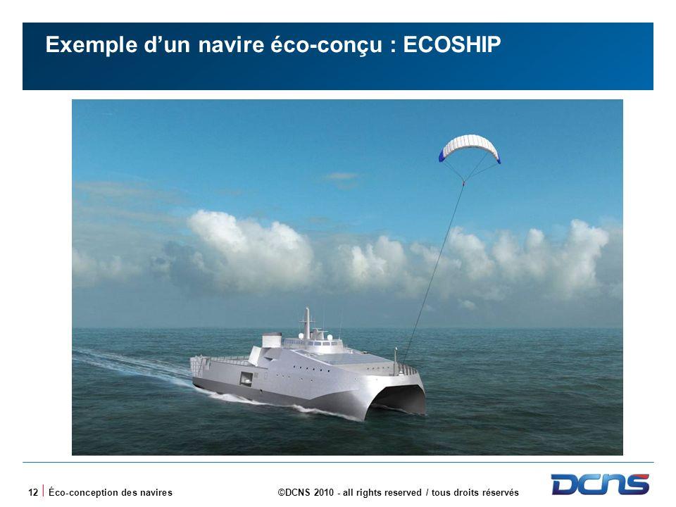 12 | Éco-conception des navires©DCNS 2010 - all rights reserved / tous droits réservés Exemple dun navire éco-conçu : ECOSHIP