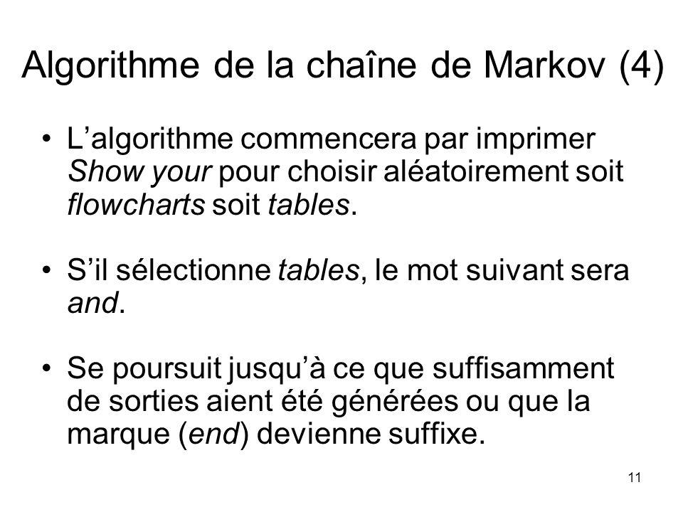 11 Algorithme de la chaîne de Markov (4) Lalgorithme commencera par imprimer Show your pour choisir aléatoirement soit flowcharts soit tables. Sil sél