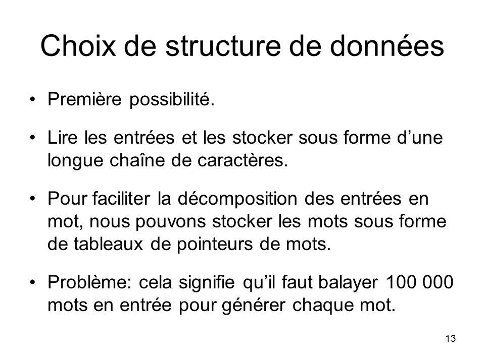 13 Choix de structure de données Première possibilité. Lire les entrées et les stocker sous forme dune longue chaîne de caractères. Pour faciliter la