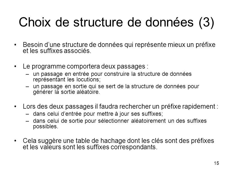 15 Choix de structure de données (3) Besoin dune structure de données qui représente mieux un préfixe et les suffixes associés. Le programme comporter