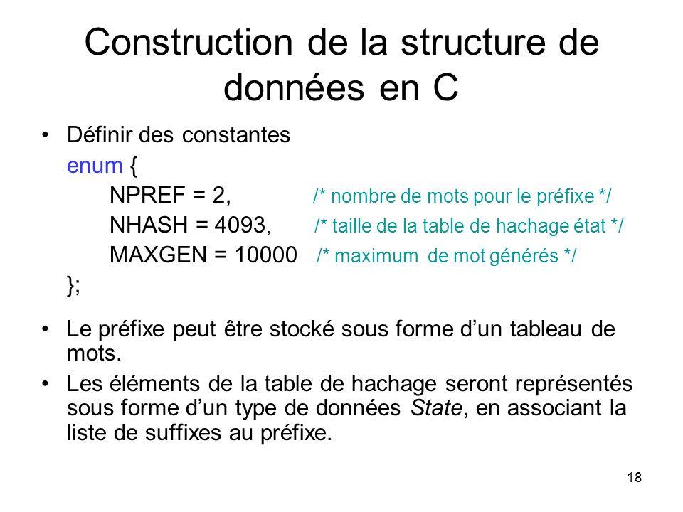 18 Construction de la structure de données en C Définir des constantes enum { NPREF = 2, /* nombre de mots pour le préfixe */ NHASH = 4093,/* taille d