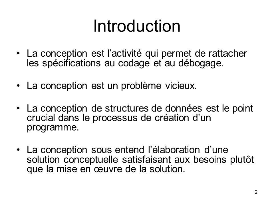 2 Introduction La conception est lactivité qui permet de rattacher les spécifications au codage et au débogage. La conception est un problème vicieux.