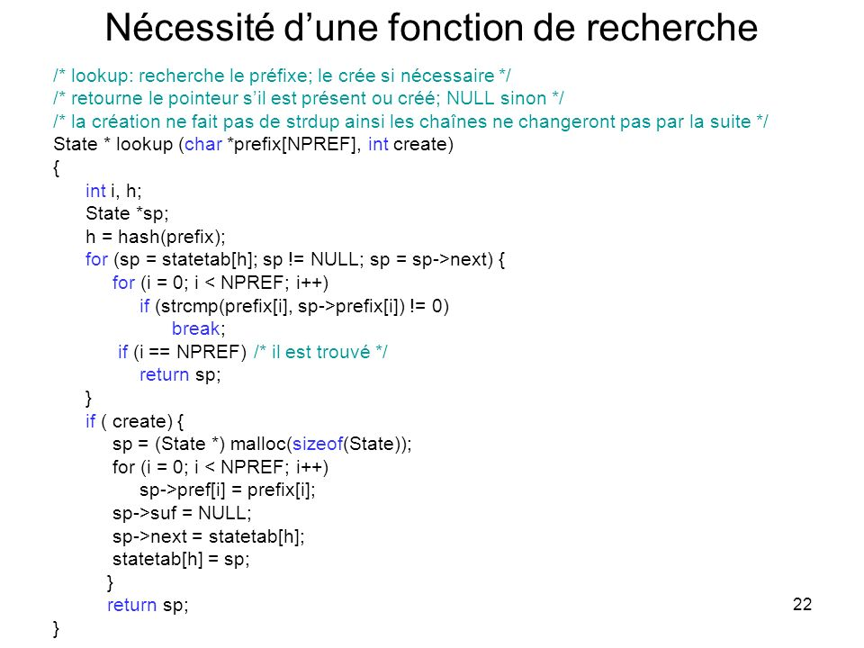 22 Nécessité dune fonction de recherche /* lookup: recherche le préfixe; le crée si nécessaire */ /* retourne le pointeur sil est présent ou créé; NUL