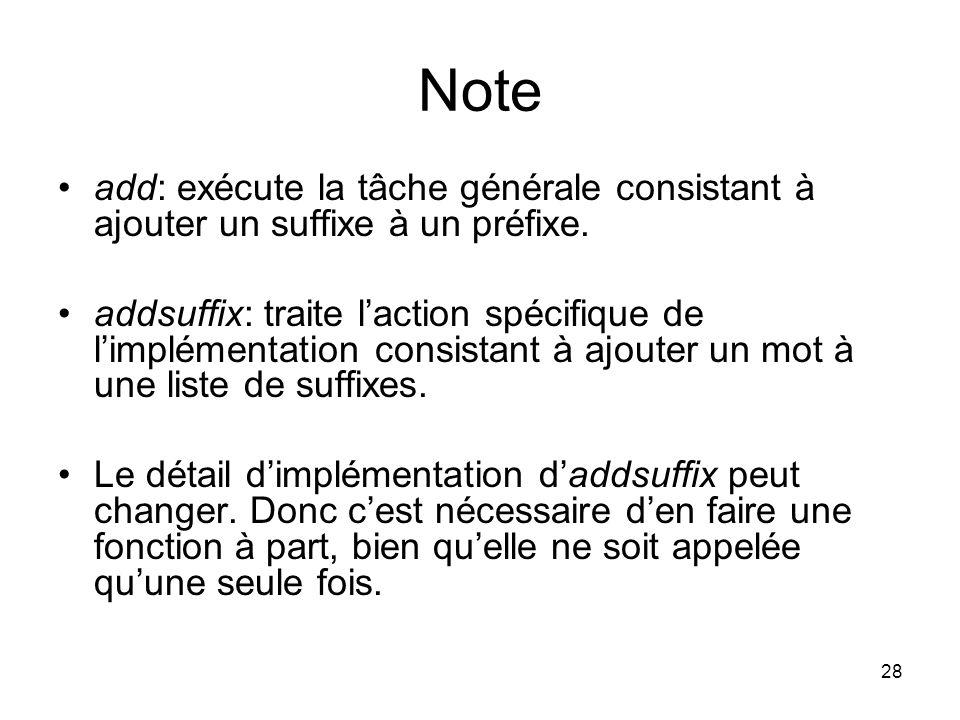 28 Note add: exécute la tâche générale consistant à ajouter un suffixe à un préfixe. addsuffix: traite laction spécifique de limplémentation consistan