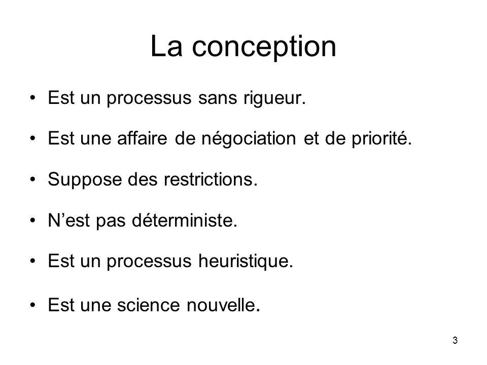 3 La conception Est un processus sans rigueur. Est une affaire de négociation et de priorité. Suppose des restrictions. Nest pas déterministe. Est un