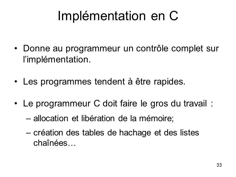 33 Implémentation en C Donne au programmeur un contrôle complet sur limplémentation. Les programmes tendent à être rapides. Le programmeur C doit fair