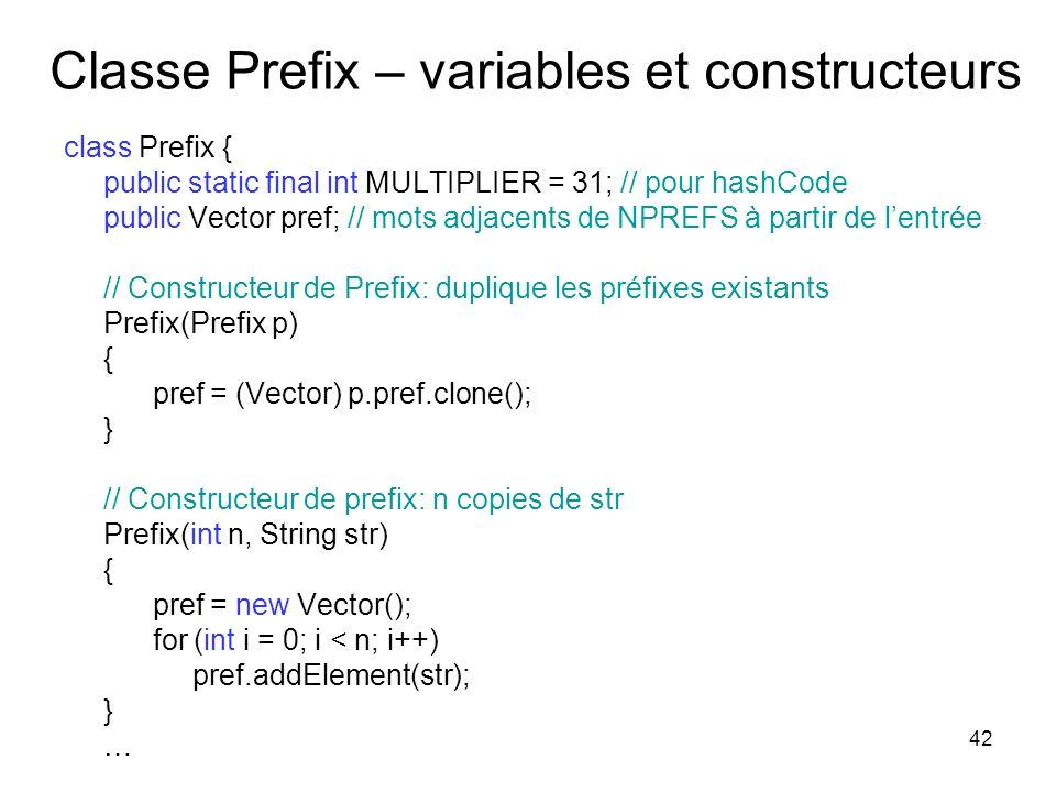 42 Classe Prefix – variables et constructeurs class Prefix { public static final int MULTIPLIER = 31; // pour hashCode public Vector pref; // mots adj