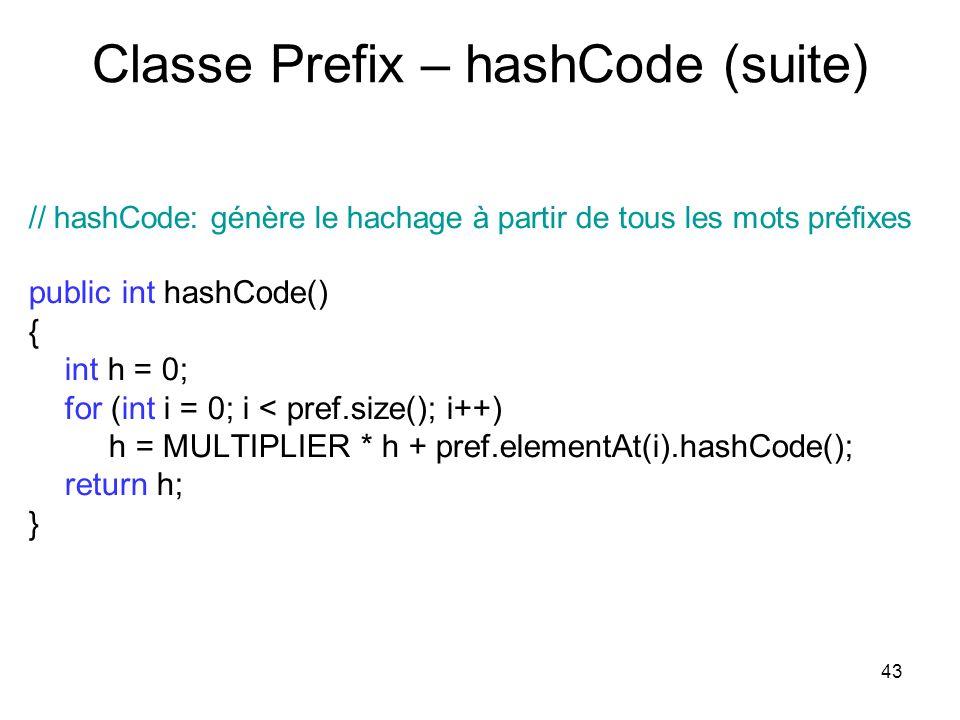 43 Classe Prefix – hashCode (suite) // hashCode: génère le hachage à partir de tous les mots préfixes public int hashCode() { int h = 0; for (int i =