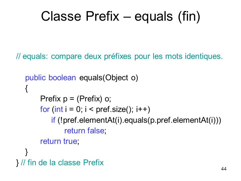 44 Classe Prefix – equals (fin) // equals: compare deux préfixes pour les mots identiques. public boolean equals(Object o) { Prefix p = (Prefix) o; fo