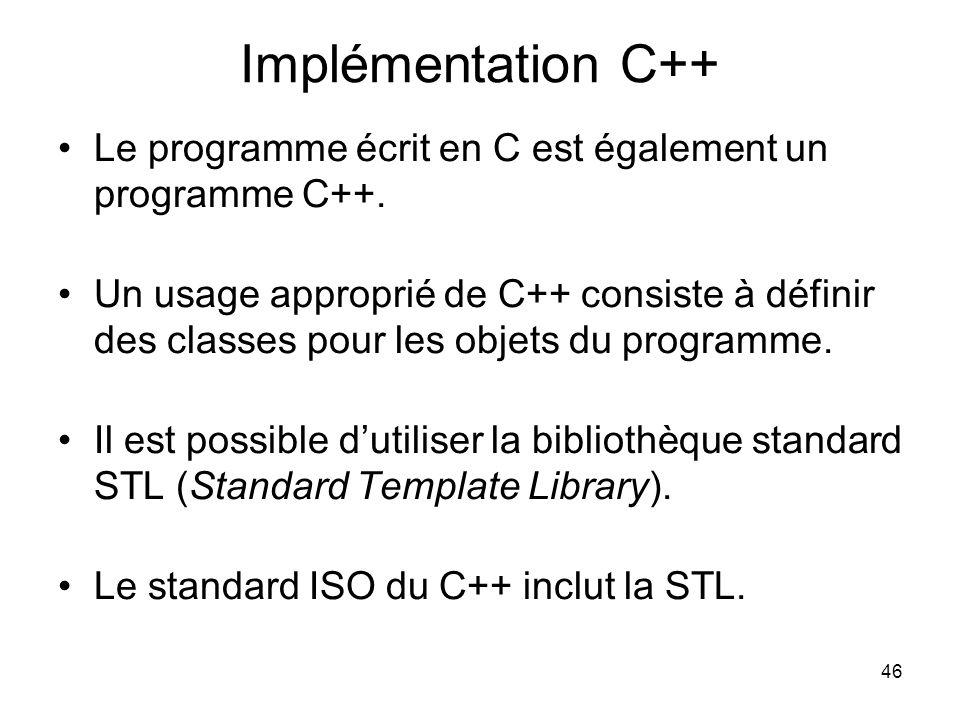 46 Implémentation C++ Le programme écrit en C est également un programme C++. Un usage approprié de C++ consiste à définir des classes pour les objets