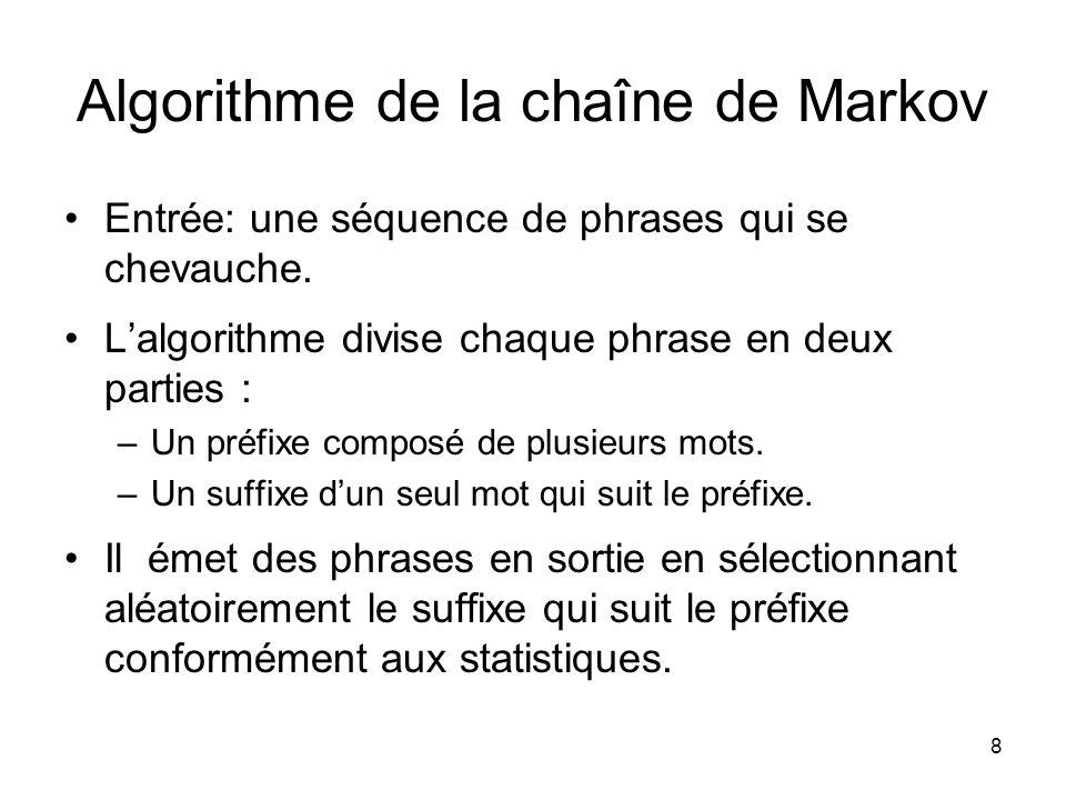 8 Algorithme de la chaîne de Markov Entrée: une séquence de phrases qui se chevauche. Lalgorithme divise chaque phrase en deux parties : –Un préfixe c