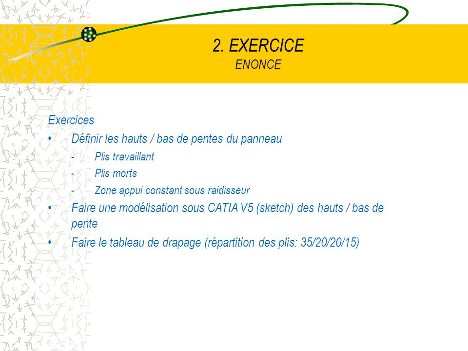 2. EXERCICE ENONCE Exercices Définir les hauts / bas de pentes du panneau - Plis travaillant - Plis morts - Zone appui constant sous raidisseur Faire