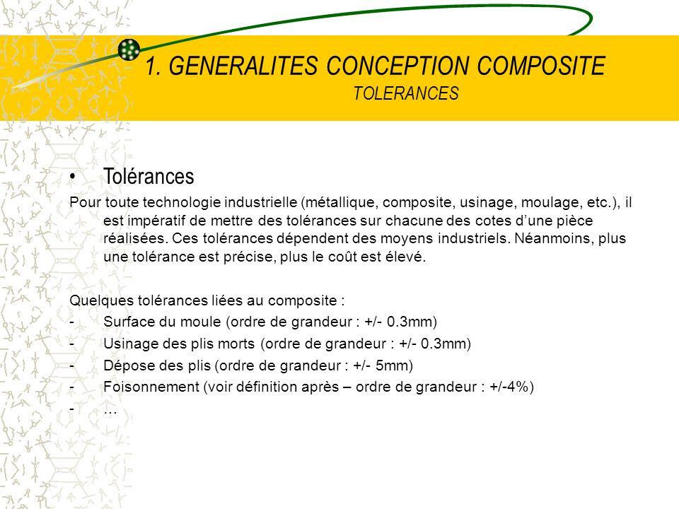 1. GENERALITES CONCEPTION COMPOSITE TOLERANCES Tolérances Pour toute technologie industrielle (métallique, composite, usinage, moulage, etc.), il est