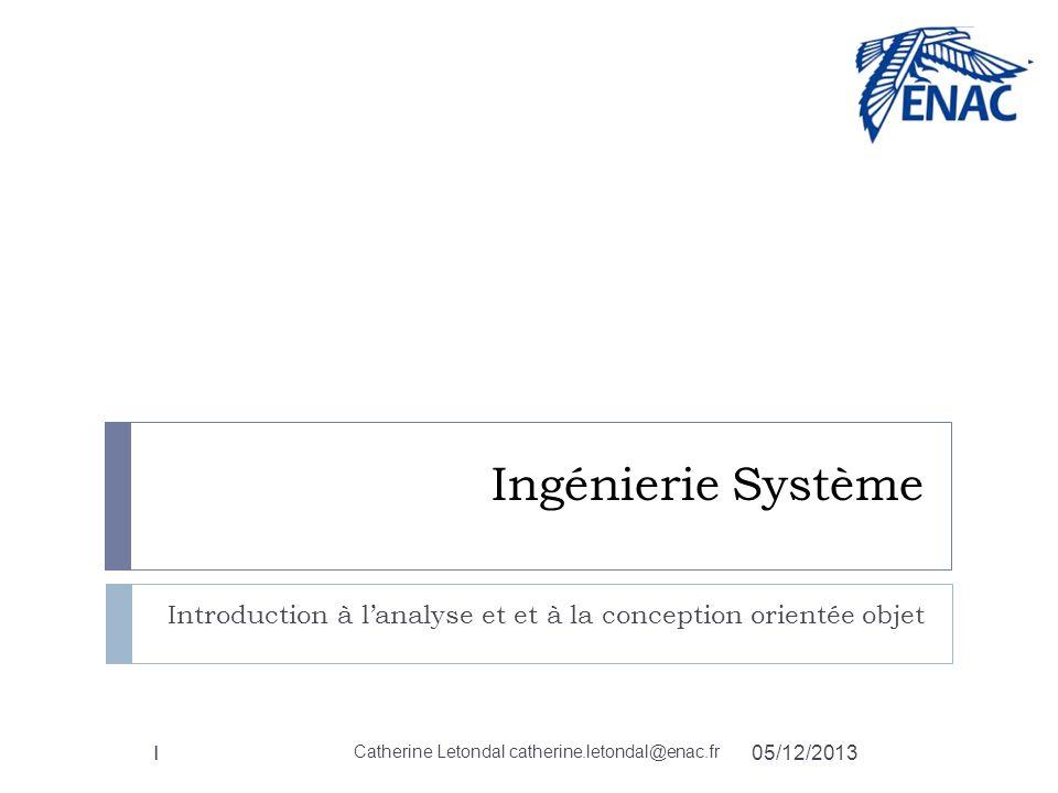 Ingénierie Système Introduction à lanalyse et et à la conception orientée objet 1 05/12/2013 Catherine Letondal catherine.letondal@enac.fr