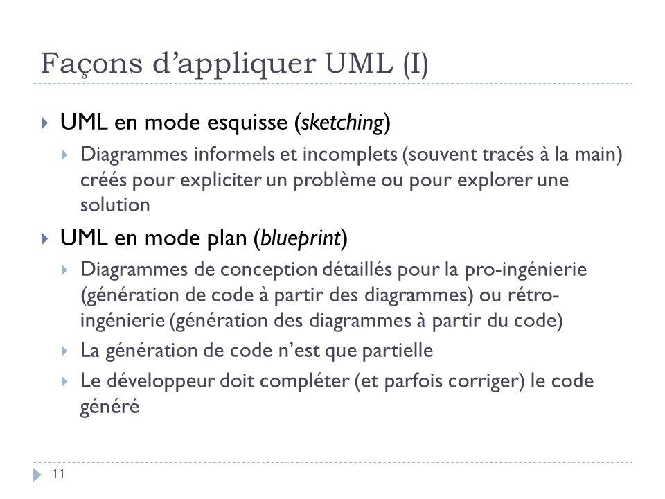 Façons dappliquer UML (I) UML en mode esquisse (sketching) Diagrammes informels et incomplets (souvent tracés à la main) créés pour expliciter un problème ou pour explorer une solution UML en mode plan (blueprint) Diagrammes de conception détaillés pour la pro-ingénierie (génération de code à partir des diagrammes) ou rétro- ingénierie (génération des diagrammes à partir du code) La génération de code nest que partielle Le développeur doit compléter (et parfois corriger) le code généré 11