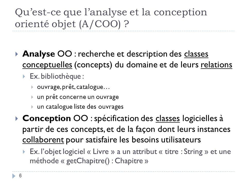 Produits de lA/COO La conception doit produire la spécification dune solution implémentable Spécification faite de plus en plus en utilisant des modèles graphiques (diagrammes UML) Un modèle de lA/COO = ensemble diagrammes UML + éléments du diagramme (classes, cas dutilisation, objets, etc.) + documents textuels 7