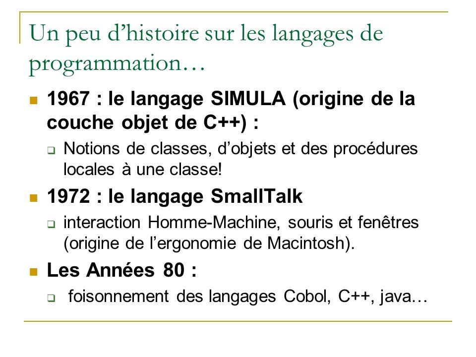 Un peu dhistoire sur les langages de programmation… 1967 : le langage SIMULA (origine de la couche objet de C++) : Notions de classes, dobjets et des
