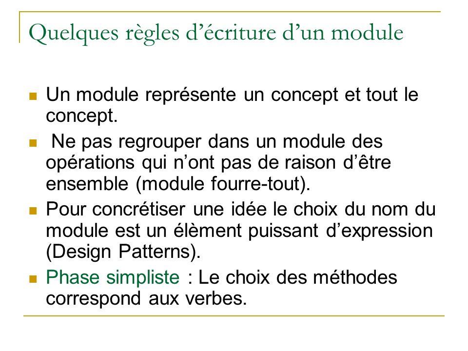 Quelques règles décriture dun module Un module représente un concept et tout le concept. Ne pas regrouper dans un module des opérations qui nont pas d