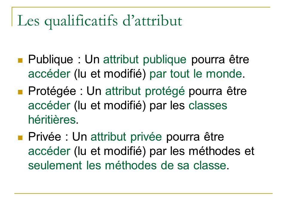 Les qualificatifs dattribut Publique : Un attribut publique pourra être accéder (lu et modifié) par tout le monde. Protégée : Un attribut protégé pour