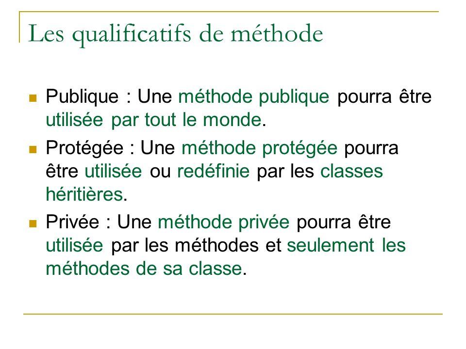 Les qualificatifs de méthode Publique : Une méthode publique pourra être utilisée par tout le monde. Protégée : Une méthode protégée pourra être utili
