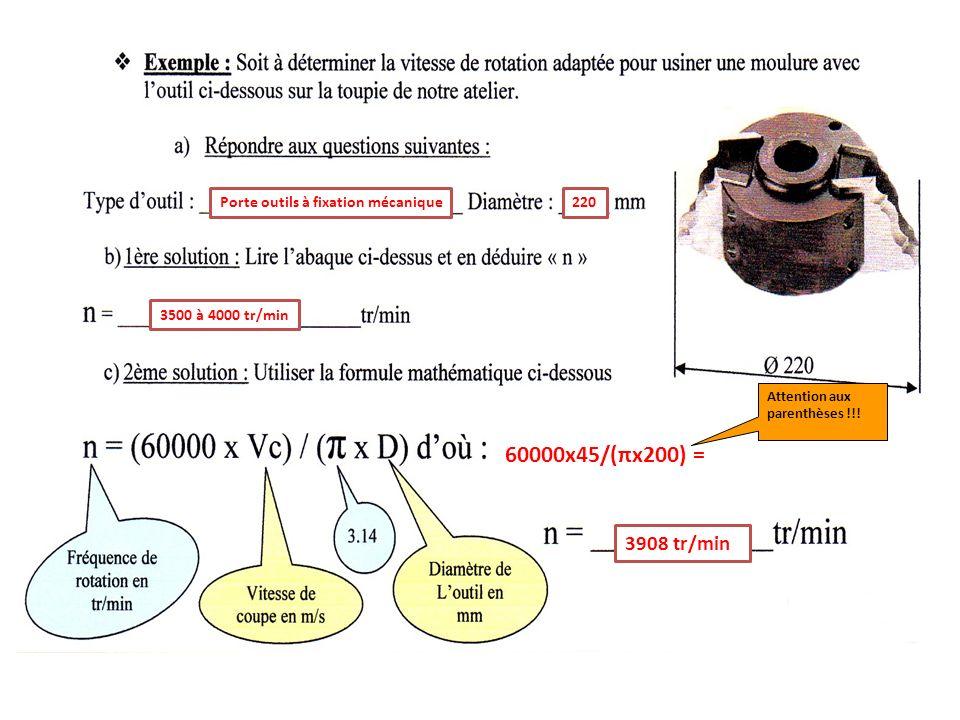 Porte outils à fixation mécanique220 3500 à 4000 tr/min 3908 tr/min 60000x45/(πx200) = Attention aux parenthèses !!!