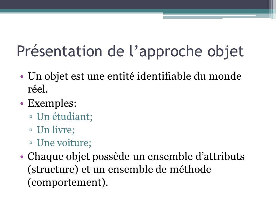 Présentation de lapproche objet Un objet est une entité identifiable du monde réel.