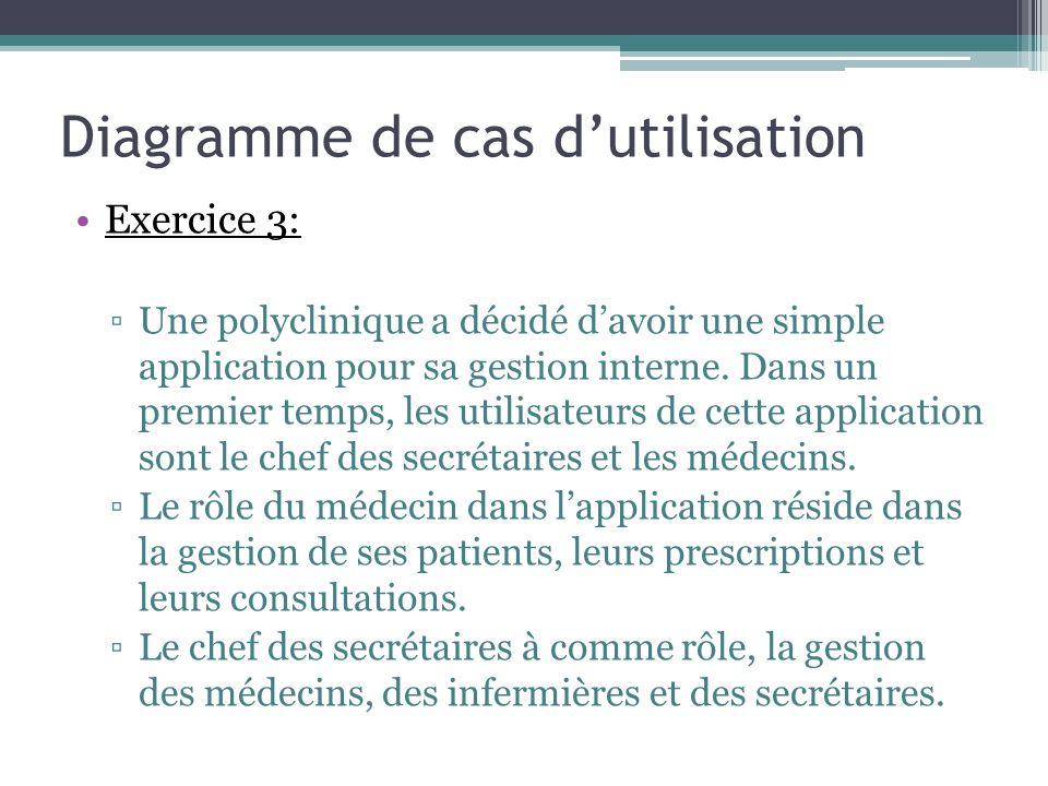 Exercice 3: Une polyclinique a décidé davoir une simple application pour sa gestion interne.