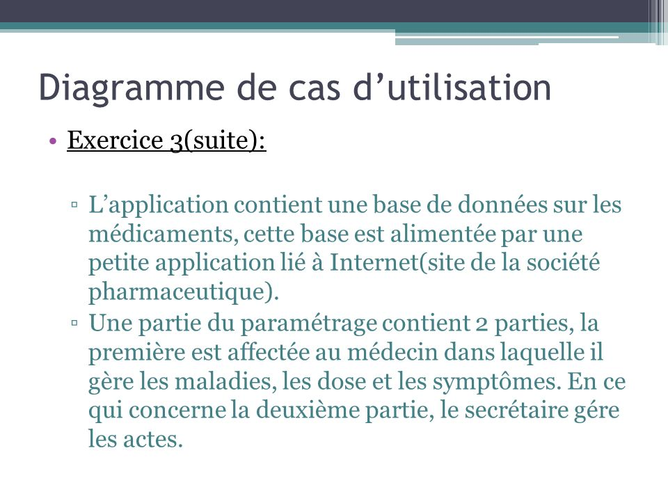 Exercice 3(suite): Lapplication contient une base de données sur les médicaments, cette base est alimentée par une petite application lié à Internet(site de la société pharmaceutique).