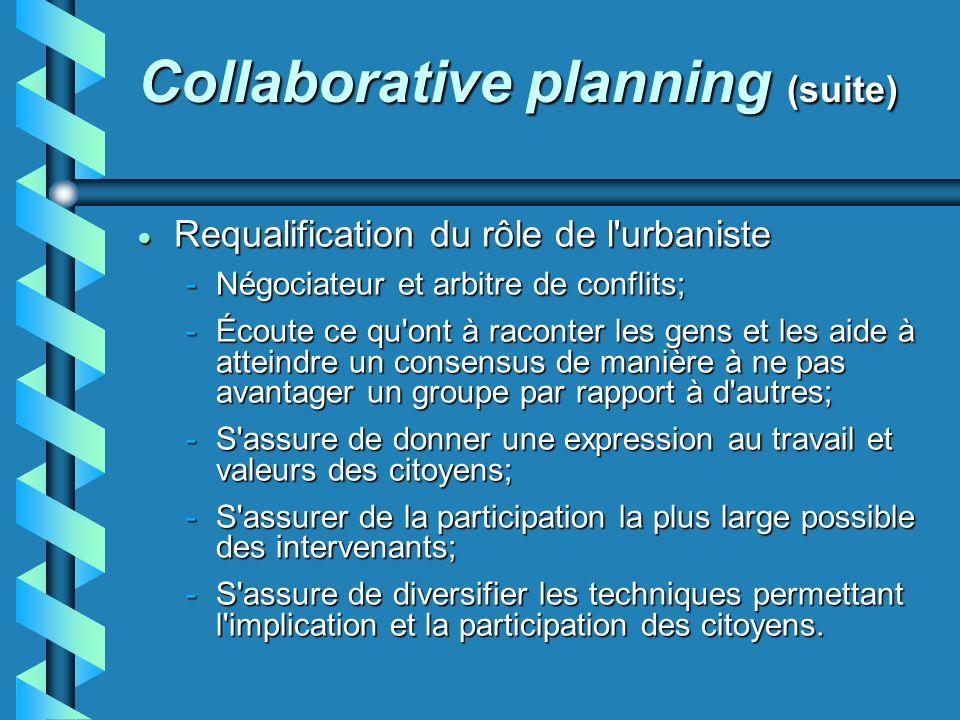 Collaborative planning (suite) Requalification du rôle de l'urbaniste Requalification du rôle de l'urbaniste -Négociateur et arbitre de conflits; -Éco