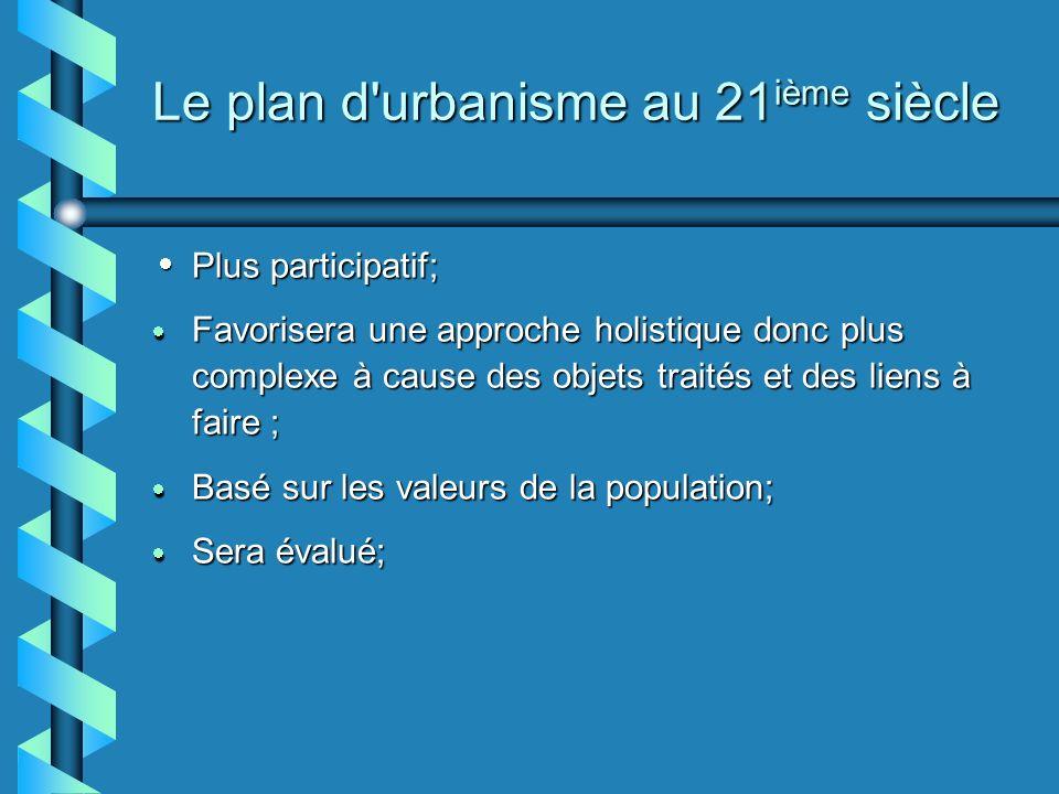 Le plan d urbanisme au 21 ième siècle Plus participatif; Plus participatif; Favorisera une approche holistique donc plus complexe à cause des objets traités et des liens à faire ; Favorisera une approche holistique donc plus complexe à cause des objets traités et des liens à faire ; Basé sur les valeurs de la population; Basé sur les valeurs de la population; Sera évalué; Sera évalué;