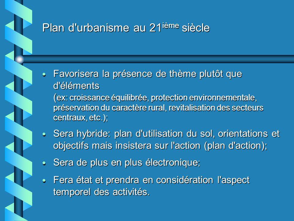 Plan d'urbanisme au 21 ième siècle Favorisera la présence de thème plutôt que d'éléments ( ex: croissance équilibrée, protection environnementale, pré