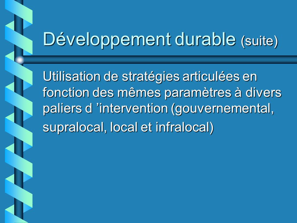Développement durable (suite) Utilisation de stratégies articulées en fonction des mêmes paramètres à divers paliers d intervention (gouvernemental, supralocal, local et infralocal)