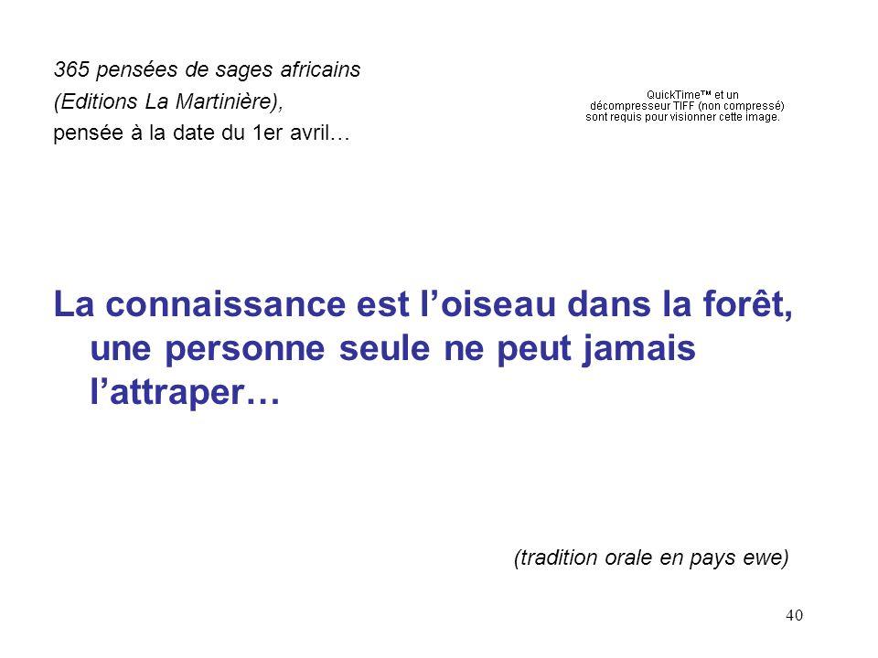 40 365 pensées de sages africains (Editions La Martinière), pensée à la date du 1er avril… La connaissance est loiseau dans la forêt, une personne seule ne peut jamais lattraper… (tradition orale en pays ewe)