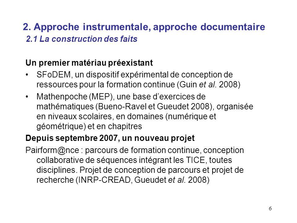 6 Un premier matériau préexistant SFoDEM, un dispositif expérimental de conception de ressources pour la formation continue (Guin et al.