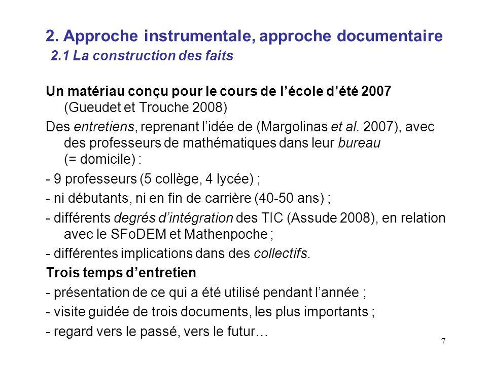 7 Un matériau conçu pour le cours de lécole dété 2007 (Gueudet et Trouche 2008) Des entretiens, reprenant lidée de (Margolinas et al.