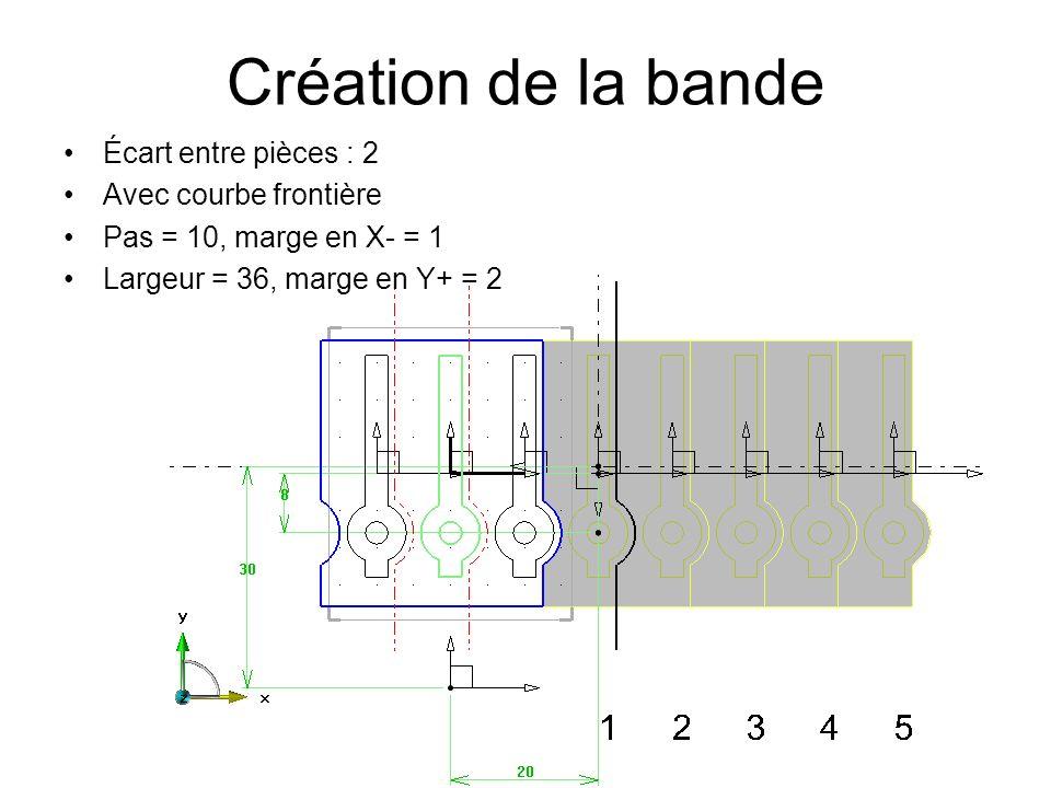 Création de la bande Écart entre pièces : 2 Avec courbe frontière Pas = 10, marge en X- = 1 Largeur = 36, marge en Y+ = 2