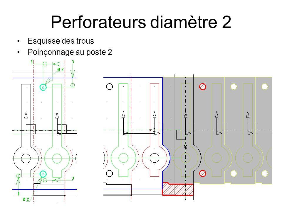 Perforateurs diamètre 2 Esquisse des trous Poinçonnage au poste 2