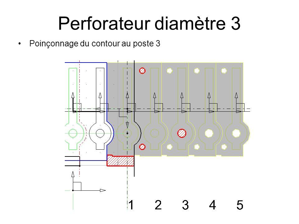 Perforateur diamètre 3 Poinçonnage du contour au poste 3