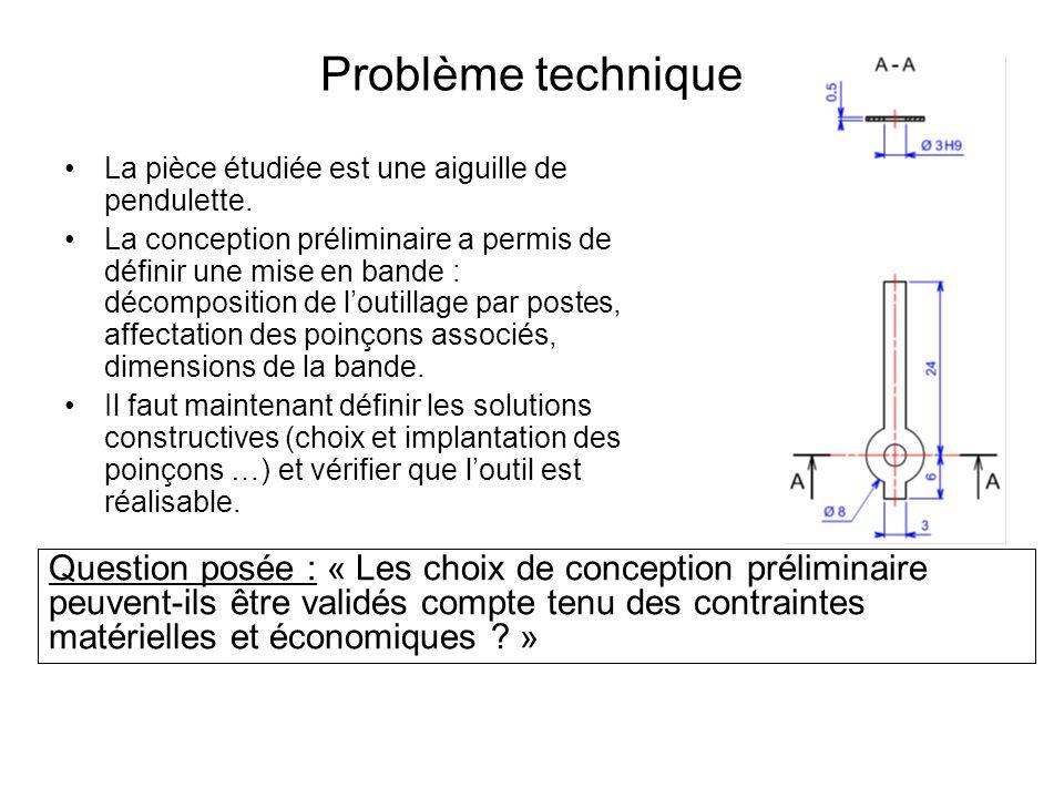 Problème technique La pièce étudiée est une aiguille de pendulette.
