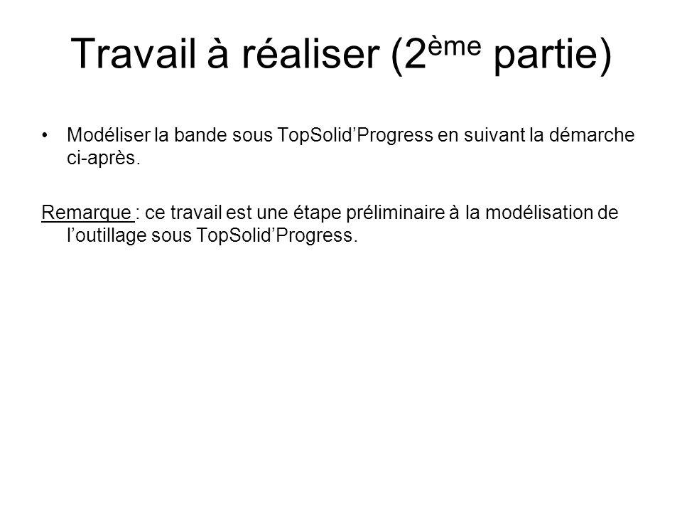 Travail à réaliser (2 ème partie) Modéliser la bande sous TopSolidProgress en suivant la démarche ci-après.