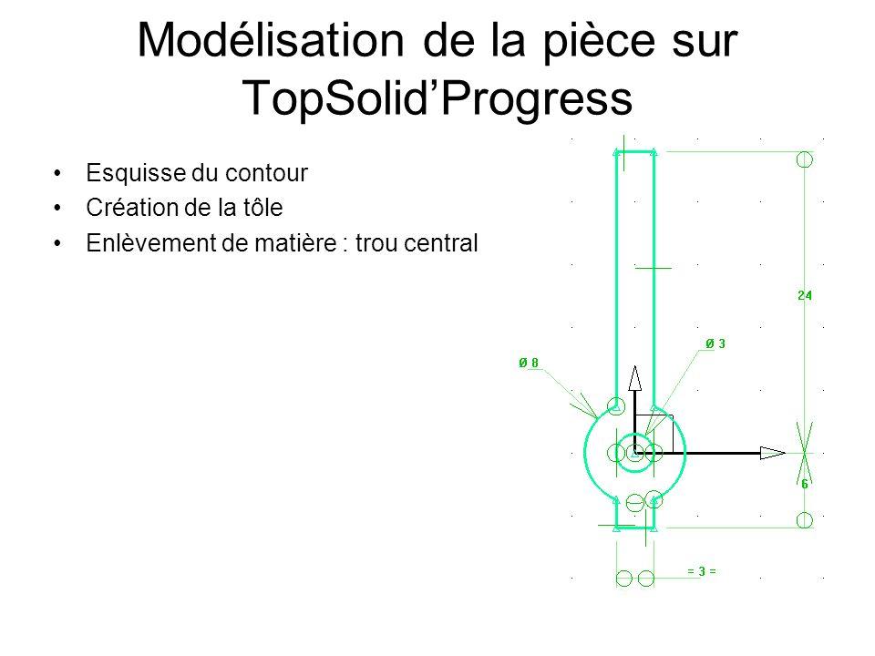 Modélisation de la pièce sur TopSolidProgress Esquisse du contour Création de la tôle Enlèvement de matière : trou central
